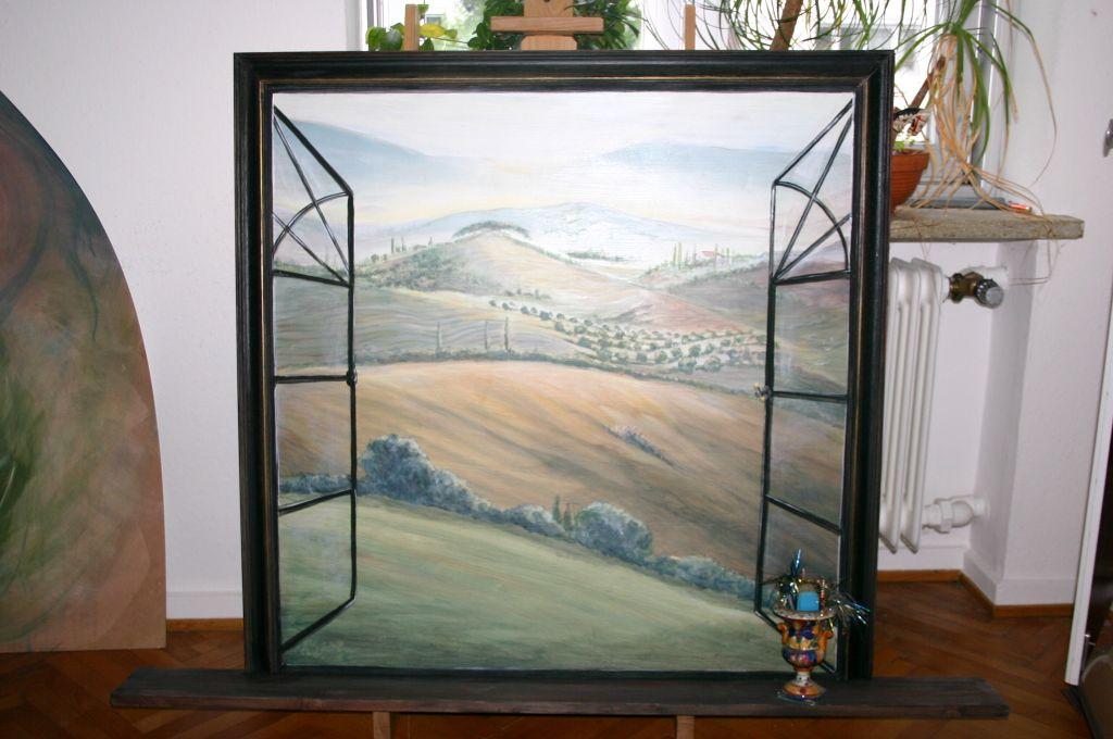 Blick aus dem Fenster mit Fensterbrett