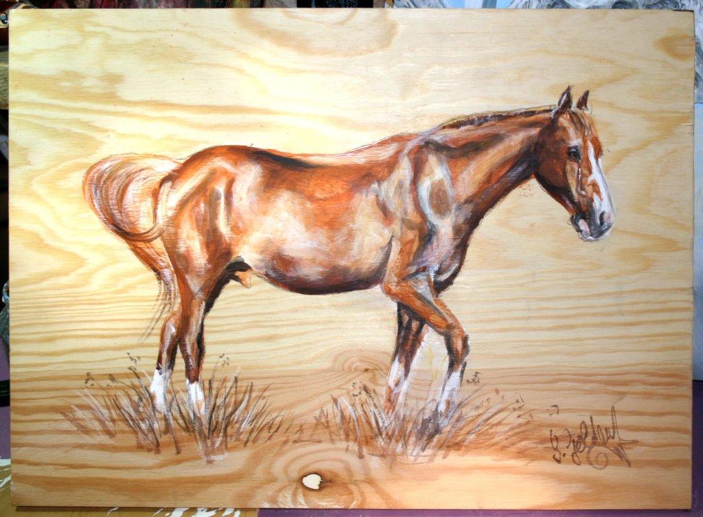 Pferdeportrait auf Naturholz