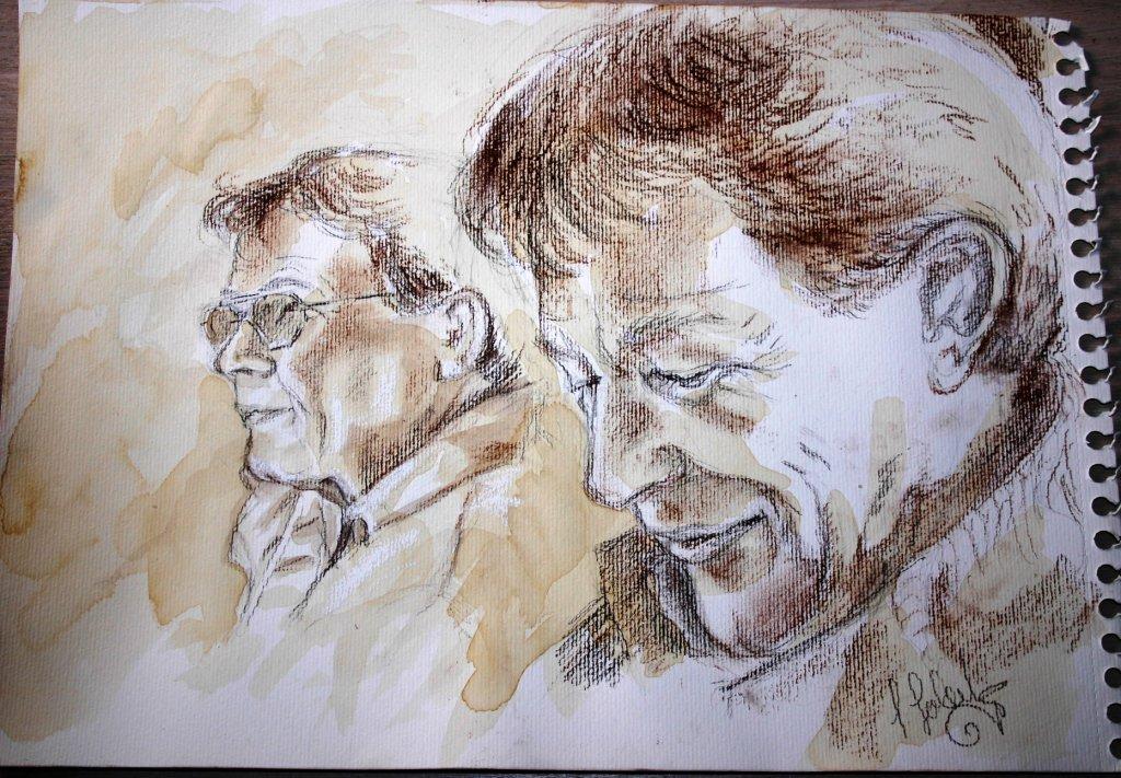Schnelles Portrait, Rötel und Kaffee